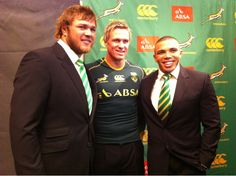 Springbok-rugbyplayers Duane Vermeulen, Jean de Villiers and Bryan Habana at the jersey launch