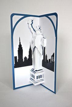 STATUE of LIBERTY & NY Skyline 3d Pop Up by BoldFolds on Etsy