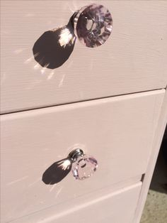Final touch new hardware - pale pink cut glass drawer knobs