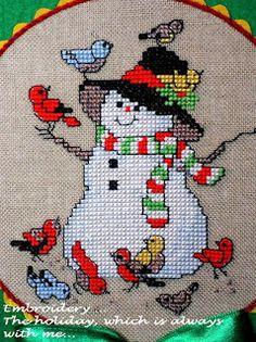 "Bellpull ""Snowmen"" / American School of Needlework ""Snowmen"" Cross Stitch Floss, Xmas Cross Stitch, Cross Stitching, Cross Stitch Embroidery, Embroidery Patterns, Ribbon On Christmas Tree, Christmas Cross, Cross Stitch Designs, Cross Stitch Patterns"
