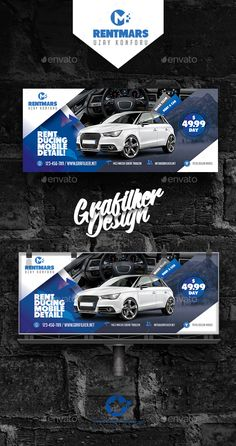 Buy Rent A Car Billboard Templates by grafilker on GraphicRiver. Rent A Car Billboard Templates Fully layered INDD Fully layered PSD 300 Dpi, CMYK IDML format open Indesign or la. Facebook Cover Design, Facebook Timeline Covers, Ad Design, Layout Design, Car Banner, Billboard Design, Bussiness Card, Catalog Design, Social Media Design