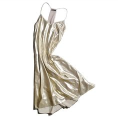 "NWT Club Monaco Shiny party dress Shiny long dress. Brand new never worn. Light gold. Beautiful detail around neckline. Size 2 but very oversized. Fits me and I'm a 4-6 in dresses. I'm 5'2"" and it goes to my shins. Would be perfect with a belt and heels. Originally $269 from club Monaco. Fully lined.                                      100% polyester Bust (underarm to underarm): 17"" Length (from beginning of strap to longest part): 36""…"