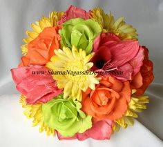 pink orange and yellow wedding bouquets | ... designs silk, latex, real touch, custom wedding flowers - Order status