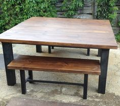 Vintage Industrial Chic Rustic Dining Table and Bench by breuhaus