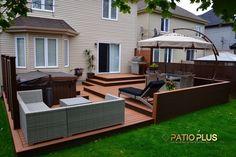 plastic grid under deck board,cheap interlocking deck ,most durable decking for outdoors Hot Tub Deck, Hot Tub Backyard, Backyard Playground, Patio Plus, Whirlpool Deck, Deck Furniture Layout, Backyard Patio Designs, Modern Backyard, Patio Ideas