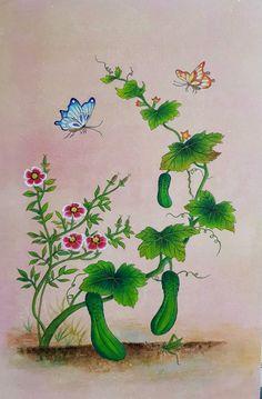 초충도4번째작품 { 오이와 메뚜기} Korean Art, Hand Embroidery Designs, Chinese Art, Chinoiserie, My Drawings, Poppies, Iphone Wallpaper, Illustration, Flowers