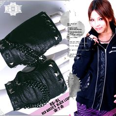 Black Studded Knit Fingerless Goth Punk Rock Motorcycle Biker Gloves SKU-71102037