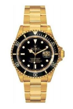 Rolex Oyster Perpetual Date Submariner 300m.  Solid 18ct Gold with Black Bezel and Dial.