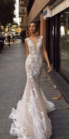 wedding dresses fall 2019 fit and flare deep v neckline floral appliques lace blush tina valerdi Fall 2019 Bridal Fashion Week is finally open. Many famous designers showcased their bridal collection. We want to show the best wedding dresses fall Wedding Dress Trends, Fall Wedding Dresses, Bridal Dresses, Wedding Gowns, Lace Wedding, Prom Dresses, Mermaid Wedding, Trendy Wedding, Wedding Ideas