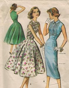1950s McCall's 4009 Vintage Sewing Pattern Teen Dress Size 12 Bust 32