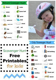 fun scavenger hunt -FREE PRINTABLE- for kids! via NoWoodenSpoons