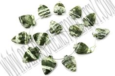 Green Zebra Jasper Faceted Arrow (Quality AA) /  10.5x13.5 to 12x18 mm / 13 to 15 Grms / 18 cm / GREE-014 by beadsogemstone on Etsy