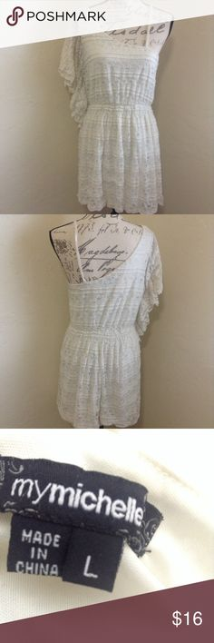Large White Lace Dress In good used condition! 95% nylon, 5% spandex. Bundles welcome :) mymichelle Dresses