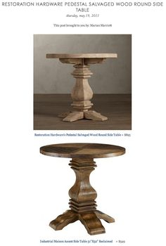 "COPY CAT CHIC FIND: Restoration Hardware's Pedestal Salvaged Wood Round Side Table VS Industrial Maison Accent Side Table 31""X32"" Reclaimed"