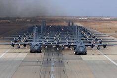 Snapshot: Elephants on the Runway | Air & Space Magazine -- 24 hulking C-130H Hercules and C-130J Super Hercules. Oh dang my fav plane the C-130s