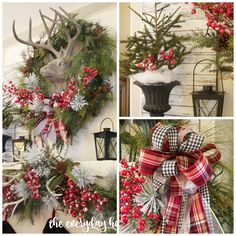 A Tartan Plaid ribbon, combined with a black and white houndstooth ribbon are combined with frosted red berries and antlers to create a stunning Christmas Mantel.
