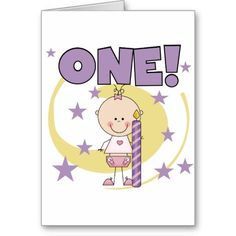 Baby Girl is One Birthday Tshirts and Gifts Greeting Card