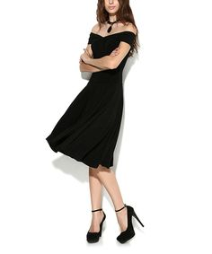 Another great find on #zulily! Laranor Black Off-Shoulder Dress by Laranor #zulilyfinds
