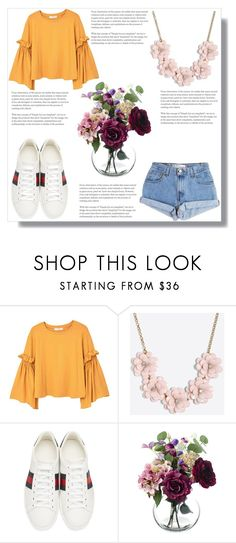 """Mustard Green"" by ella-polyvore ❤ liked on Polyvore featuring MANGO, J.Crew, Levi's and Gucci"