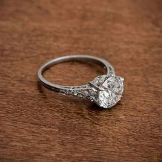 A rare Edwardian Style Engagement Ring from our Collection. This beautiful edwardian vintage style engagement ring is adorned with fine filigree, diamonds and milgrain, and is mounted in a handmade…MoreMore  #DiamondJewelry