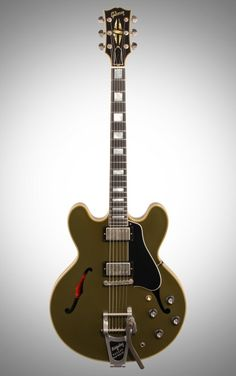 Gibson Limited Edition 2015 ES-355 Electric Guitar, with Bigsby Tremolo: Dressed in handsome olive drab, the 2015 ES-335 is ready to serve your every tonal need thanks to its Bigsby tailpiece, rolled neck and historic truss rod.