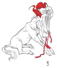 'Centaur II' by J.A.W. Cooper. Find out more about Cooper and see more of her awesome art in her interview at wowxwow.com (drawing, figurative, animals, nature, centaur, myth, mythology, symbolism, narrative, surreal, surrealism)