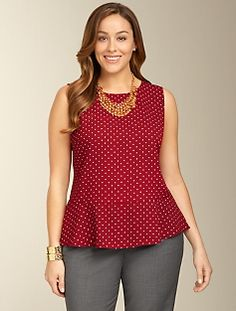 Dot Crepe Peplum Top
