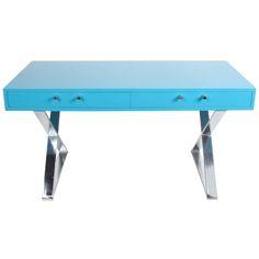"""Milo Baughman Blue Lacquer Desk with Chrome """"X"""" Base"""
