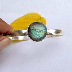 Labradorite Bracelet Bezel Set Sterling silver Bangle by FineSilverStudio