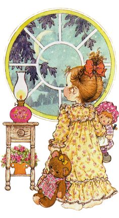 Happy Childhood World by Sarah Key in the evening Sarah Key, Holly Hobbie, Illustrations, Illustration Art, Mary May, Foto Poster, Anne Geddes, Dibujos Cute, Raggedy Ann And Andy