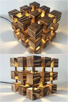 Wooden Rubik Cube Table Lamp - Table Lamps - This Molecular, Rubik's Cube lamp is made entirely of real solid wood and nothing else- just a LOT of measuring, cutting, drilling! Each wooden cube is fixed using real wooden dowels to make a really solid and Wooden Table Lamps, Wood Lamps, Lamp Table, Diy Table, Wood Table, Desk Lamp, Wooden Plane, Wooden Cubes, Deco Originale