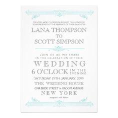 Het vintage Huwelijk van Aqua TurquoiseTypography  Gepersonaliseerde Uitnodigingen