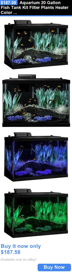 Animals Fish And Aquariums: Aquarium 20 Gallon Fish Tank Kit Filter Plants Heater Color Change Led Light New BUY IT NOW ONLY: $187.58