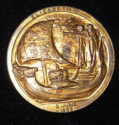 """Queen #elizabeth ii bronze #""""viking #ship"""" coronation medal coin dated 2 june 195,  View more on the LINK: http://www.zeppy.io/product/gb/2/381643278673/"""