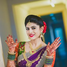 South Indian bride. Diamond Indian bridal jewelry.Temple jewelry. Jhumkis.Purple silk kanchipuram sari.Braid with fresh jasmine flowers. Tamil bride. Telugu bride. Kannada bride. Hindu bride. Malayalee bride.Kerala bride.South Indian wedding.