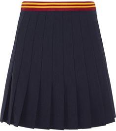 Miu Miu - Pleated Wool-blend Mini Skirt - Navy