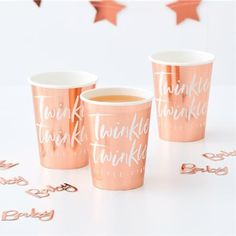 Rose Gold Foiled Paper Party Cups X 8 - Twinkle Twinkle - Baby Shower Rose Gold Foiled Paper Party Cups X 8 – Twinkle Twinkle – Baby Shower Baby Shower Roses, Baby Shower Napkins, Party Napkins, Baby Shower Parties, Gold Napkins, Baby Shower Items, Baby Shower Supplies, Party Supplies, Rose Gold Paper
