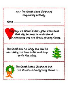 This Sequencing Activity retells the story How the Grinch Stole Christmas by:  Dr. Seuss.  Students can cut and paste, cut and tie together by punching holes in top and bottom of cards, or cut them and arrange them in order using a pocket chart at centers.
