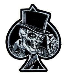 Top Hat Death Skull Patch Iron on Applique Alternative Clothing Ace of Spades Sombrero de copa Death Skull Patch Iron on Applique Ropa alternativa As of Spades Top Hat Drawing, Ace Of Spades Tattoo, Tattoo Caveira, Spade Tattoo, Skull Tattoo Flowers, Simple Skull, Sugar Skull Tattoos, Skull Tattoo Design, Tattoo Designs