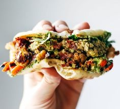 Spicy Falafel and Roasted Veggie Naan-wich | 15 Quick And Healthy Sandwiches To Savor Anytime | Low Carb and Clean Eating Recipes Perfect for your Breakfast and Busy Days : http://homemaderecipes.com/15-healthy-sandwiches/