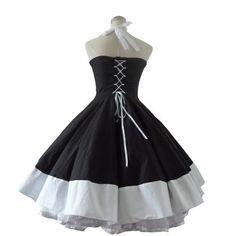 Rockabilly VINTAGE BLACK Swing Dress  1950s Retro Party