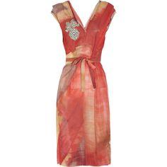 Vivienne Westwood Gold Label Tuck Union Jack-print silk-chiffon dress found on Polyvore