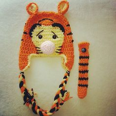 Crochet Tiger Inspired Beanie Hat with Earflaps. $15.00, via Etsy.