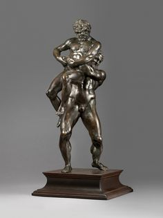 Willem van Tetrode, Hercules and Antaeus. Acquired by a Private Collector. Made around 1560, and inspired by a famous ancient sculpture, this is one of Tetrode's earliest statuettes. -ANDREW BUTTERFIELD FINE ARTS, LLC-