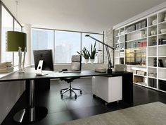 ... Perfect Interior Office With Compleetd Furniture And Wall Shelves ...