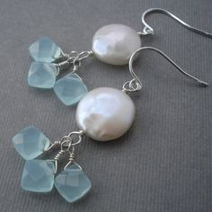 Coin Pearl Earrings Light Blue Glass Wire by carrieWdesigns, $28.00