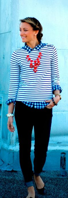Gorgeous look in j crew necklace, stripes and black jeans