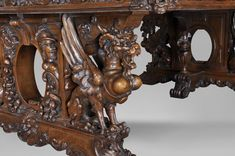 Beautiful antique Neo-Renaissance style walnut carved table with lions and mythical animals - Antique Dining Room Sets Antique Dining Room Sets, Renaissance Architecture, Roman Soldiers, Renaissance Fashion, Art Object, Floral Motif, Bengal, Mythical Creatures, French Antiques