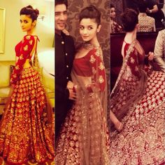 Alia Bhatt In Red And Gold Lehenga By Manish Malhotra Bridal At India Couture Week 2014