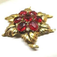 Red Brooch - Vintage, Gold Tone, Red Glass, Rhinestones and Faux Pearl Floral Pin by MyDellaWear on Etsy